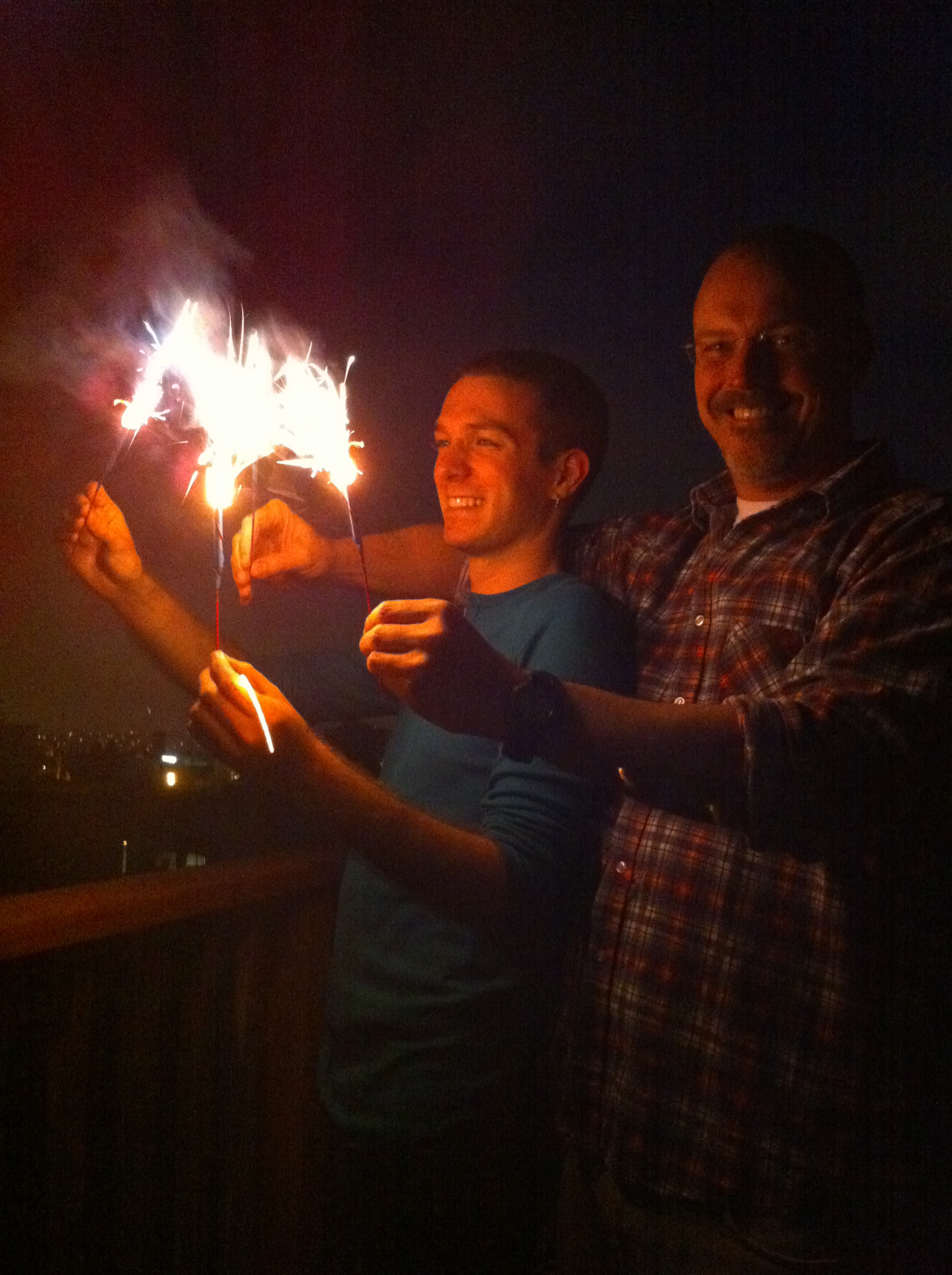 Jonathan Nye and Matthew Sachs fly their sparklers