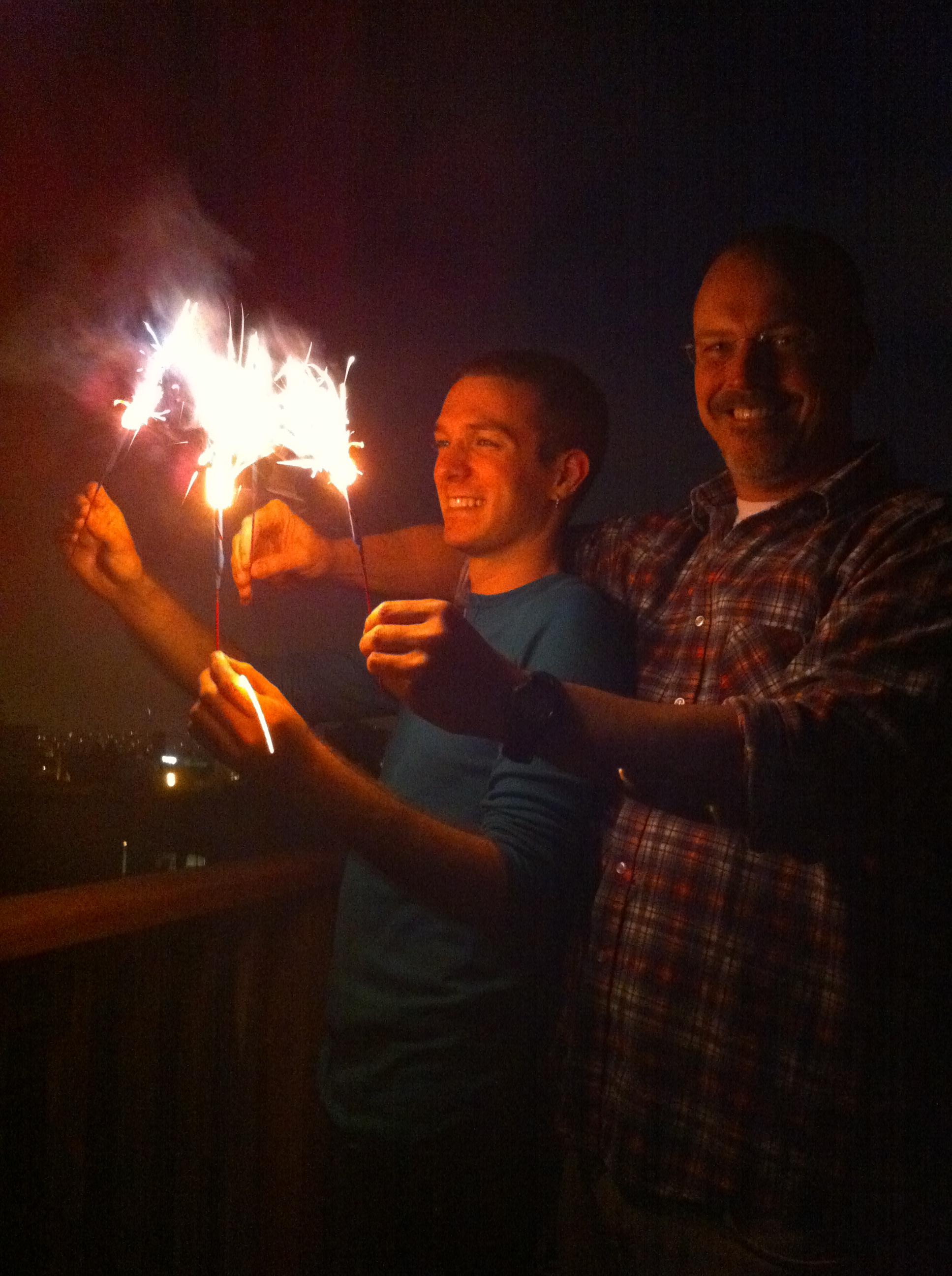 Jonathan Nye and Matthew Sachs fly their sparklers