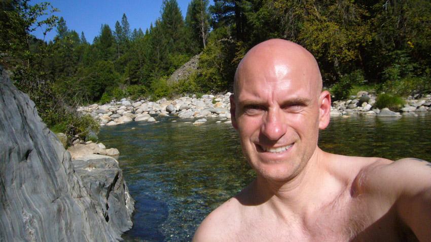 Patrick Santana at Yuba River swimming hole, 2007
