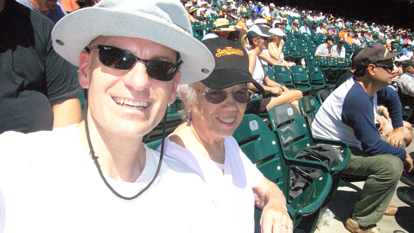 Me and Grandma Evelyn in the blazing stadium sun, 2007