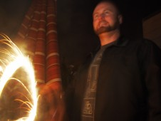 Darryl with fire, July 4 2011
