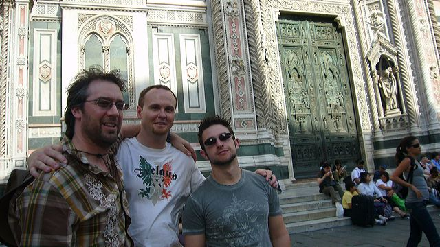 John Angelico, Darryl Dunn, and Antone Sylvia in front of the Duomo, 2007