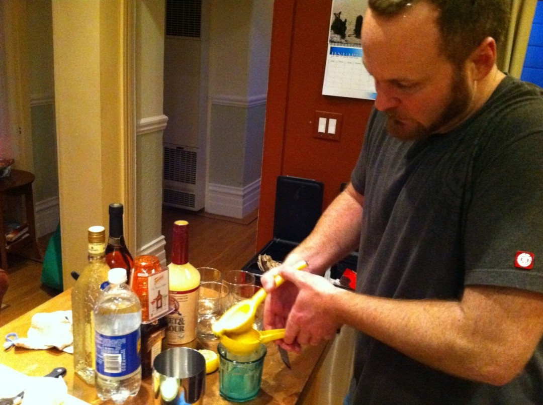 """Darryl making """"White Lady"""" drinks for us"""
