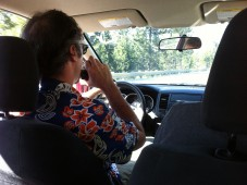 John at the wheel on the drive to Truckee