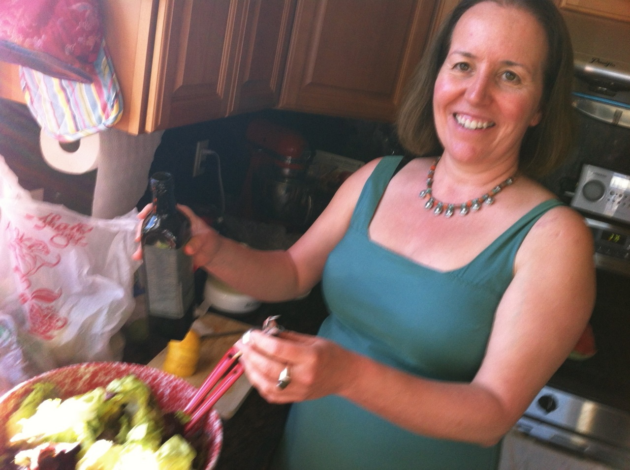 Liza prepping the birthday salad