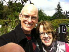 My high school Latin teacher, Nora MacDonald, and I at Swanson's Nursery