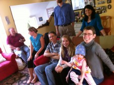 The family gathered in the View Ridge living room, Seattle WA 2012
