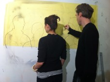 Alexi Worth draws Angela Voulangas, at studio in DUMBO
