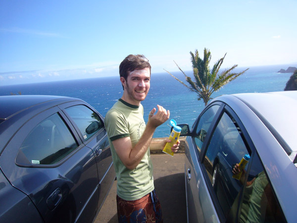 Matthew getting out of the car at Pololu, Hawaii, 2008