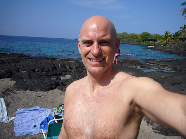 About to start snorkeling at Two Steps, 2008