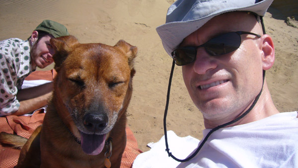 Jax and me on the beach at Fort Funston