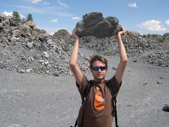 Mark Allen hoists a lava stone, Mono Lake 2005