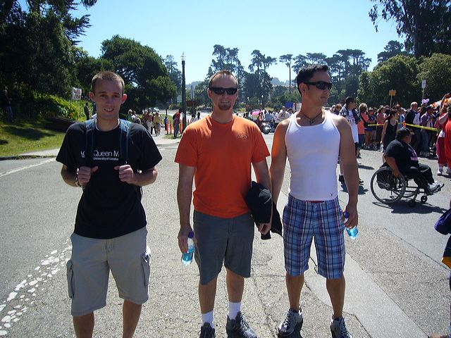 Greg O'Neall, Darryl Dunn, and Mike Woo at the 2006 AIDS Walk