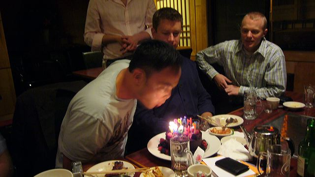 Mike Woo blows the candles out, 2006