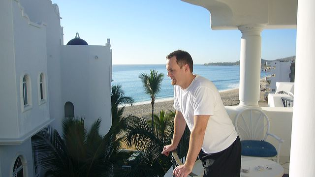Darryl Dunn on the Cabo condo balcony, 2006
