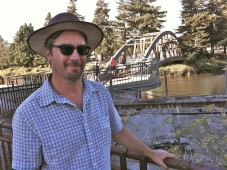 John Angelico at the Petaluma River footbridge