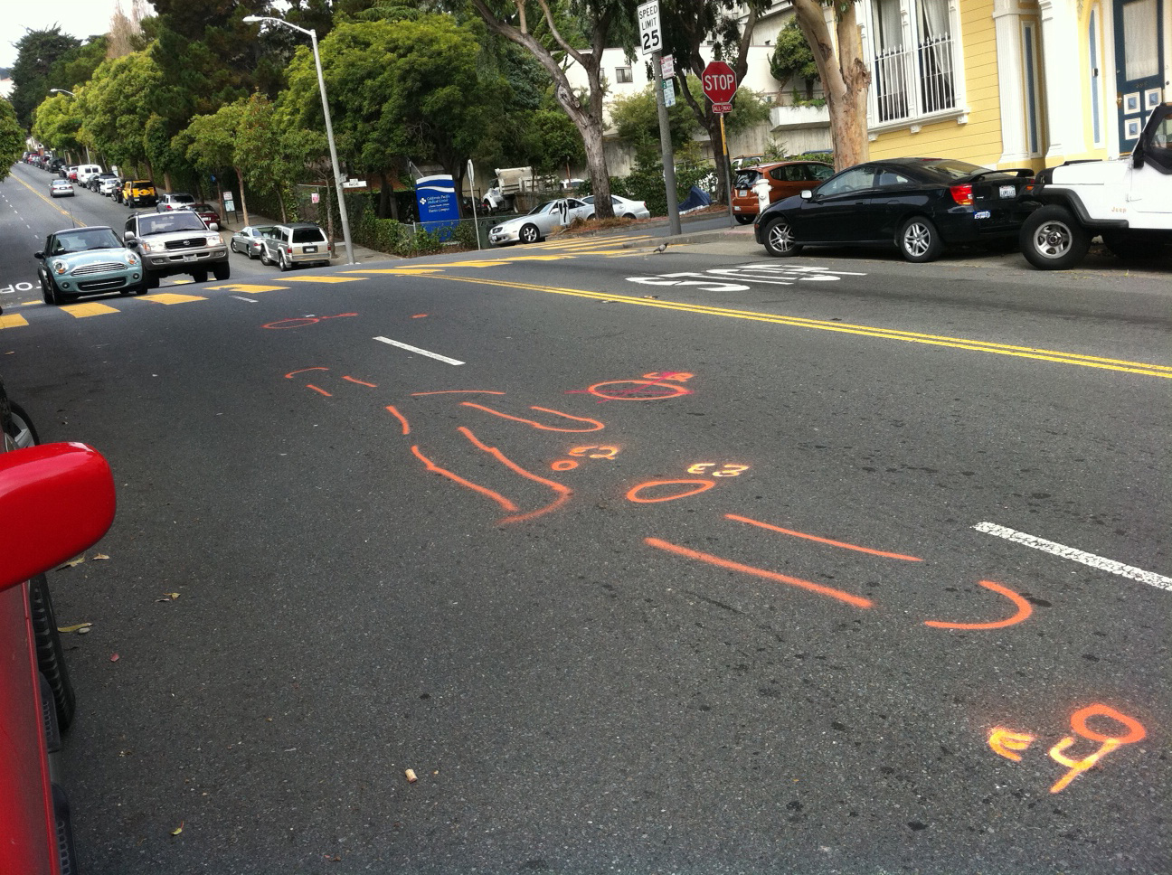Police markings where William Cox died, September 7, 2011