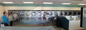 Panorama of interior of Sudz Laundrette, Aptos, CA.